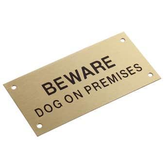 Sandleford Beware Dog On Premises Sign Brass