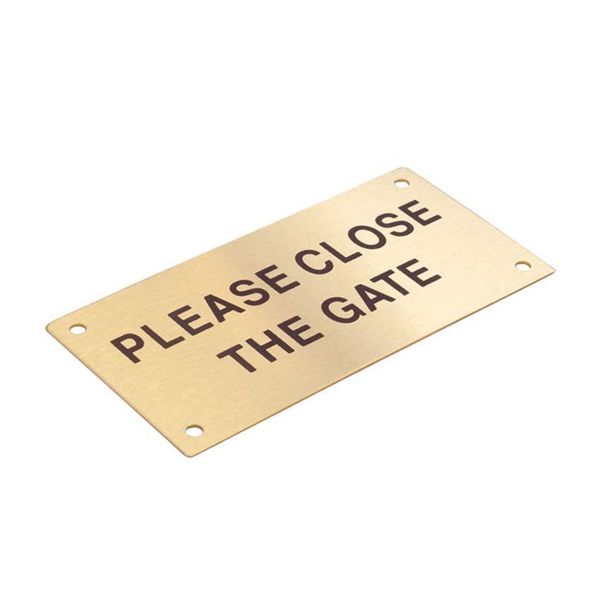 Sandleford Please Close The Gate Sign Brass