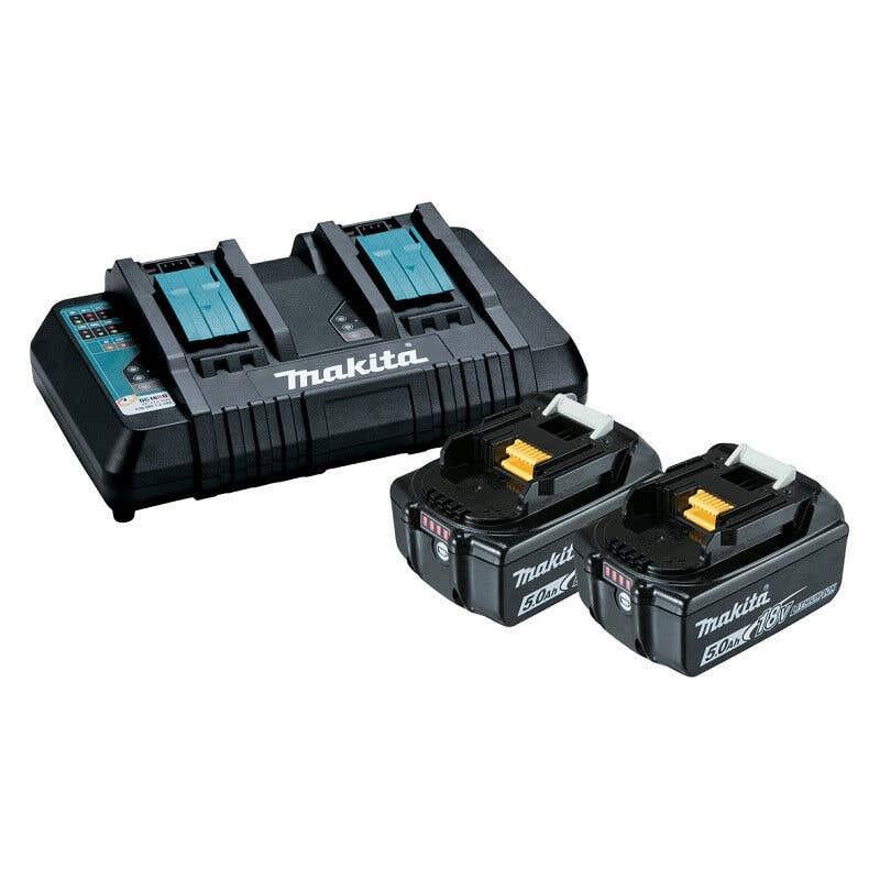 Makita 18V Li-Ion Dual Port charger & 5.0Ah Batteries
