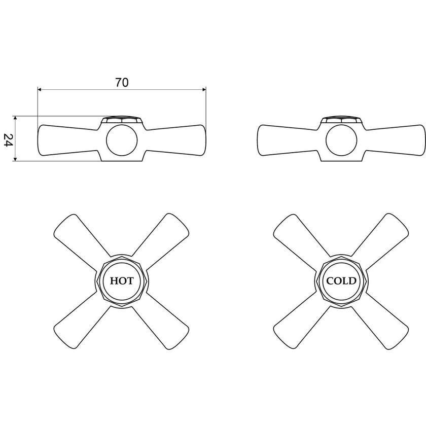 Mildon Cross Style Handle & Button Standard Chrome