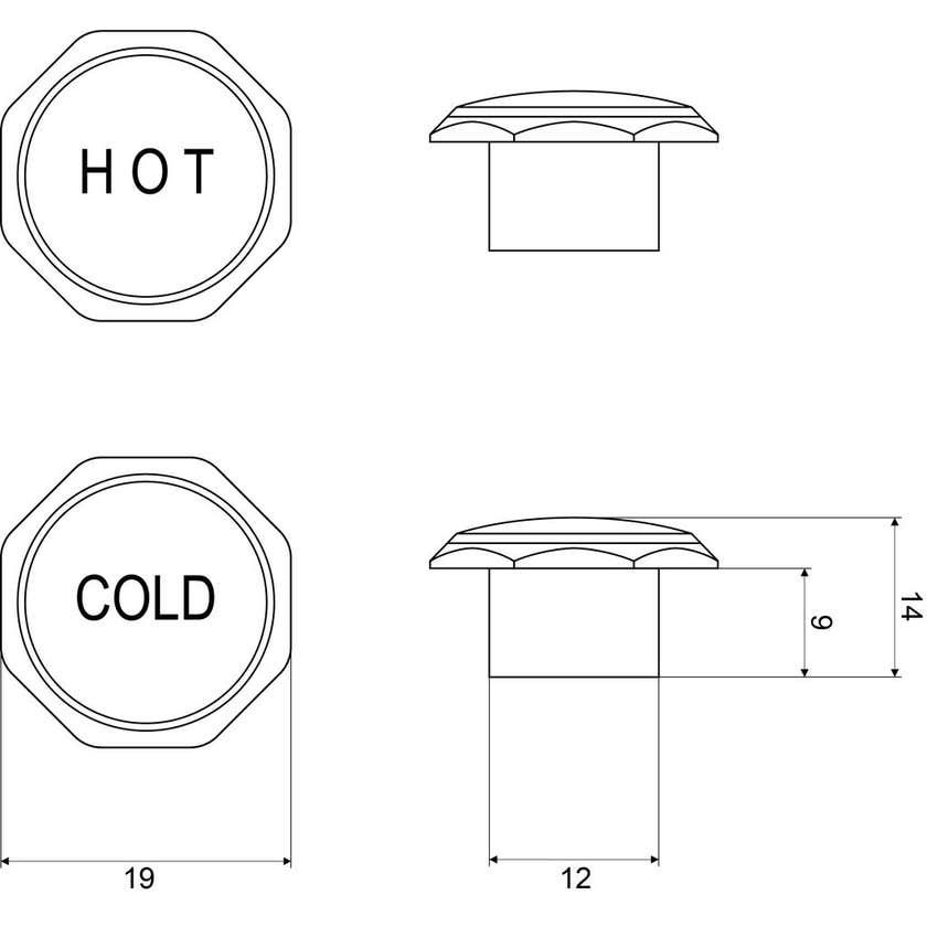 Mildon Deluxe Tap Handle Button Hot & Cold Chrome