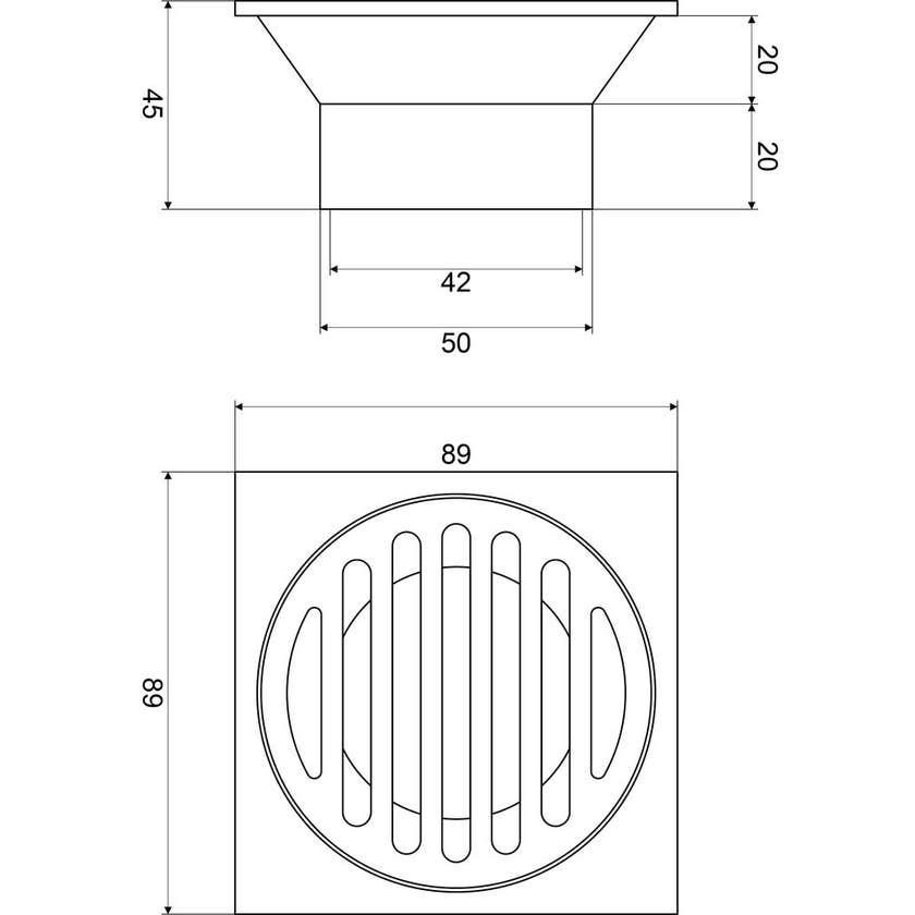 Mildon Square Grate 80mm - 50mm Chrome