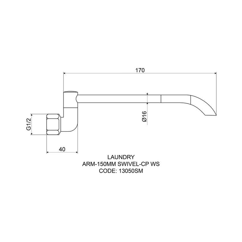 Mildon Swivel Laundry Arm 150mm
