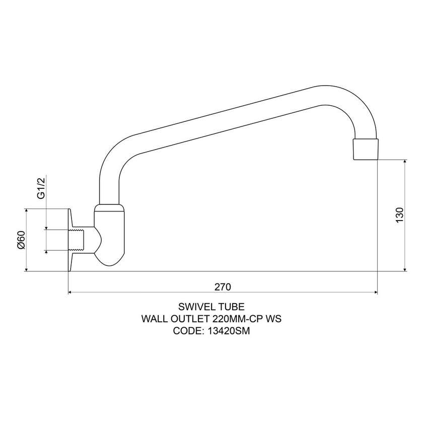 Mildon Wall Outlet 220mm Tube Cast