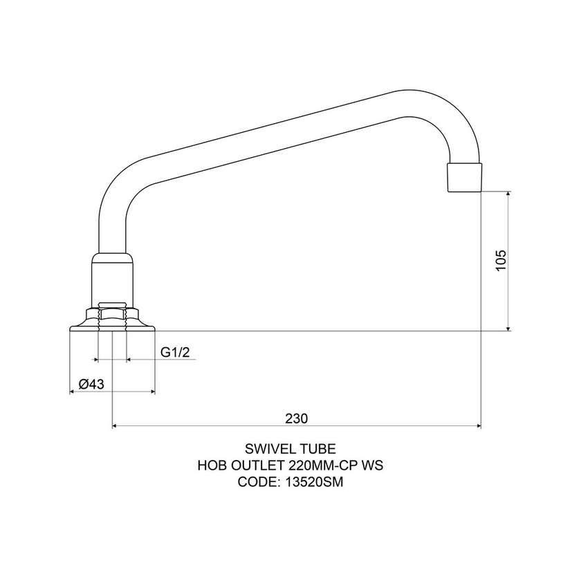 Mildon Swivel Tube Hob Spout 220mm Chrome