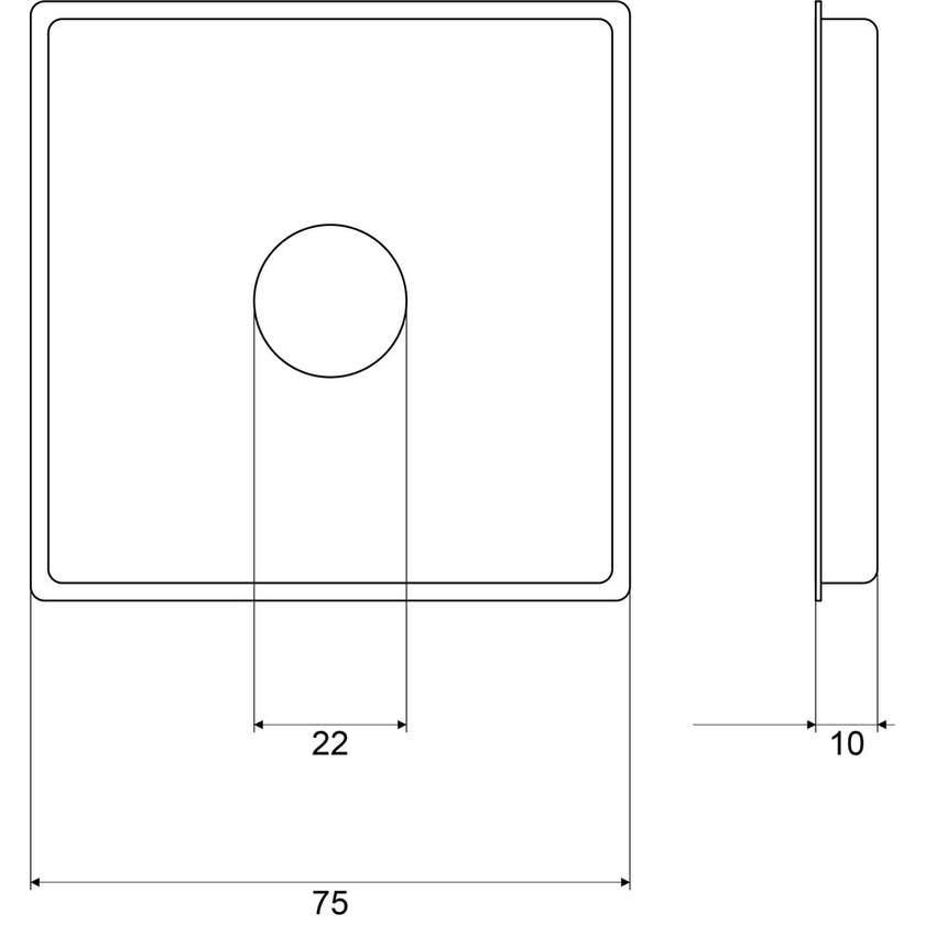 Mildon Cover Plate Square Raised Chrome