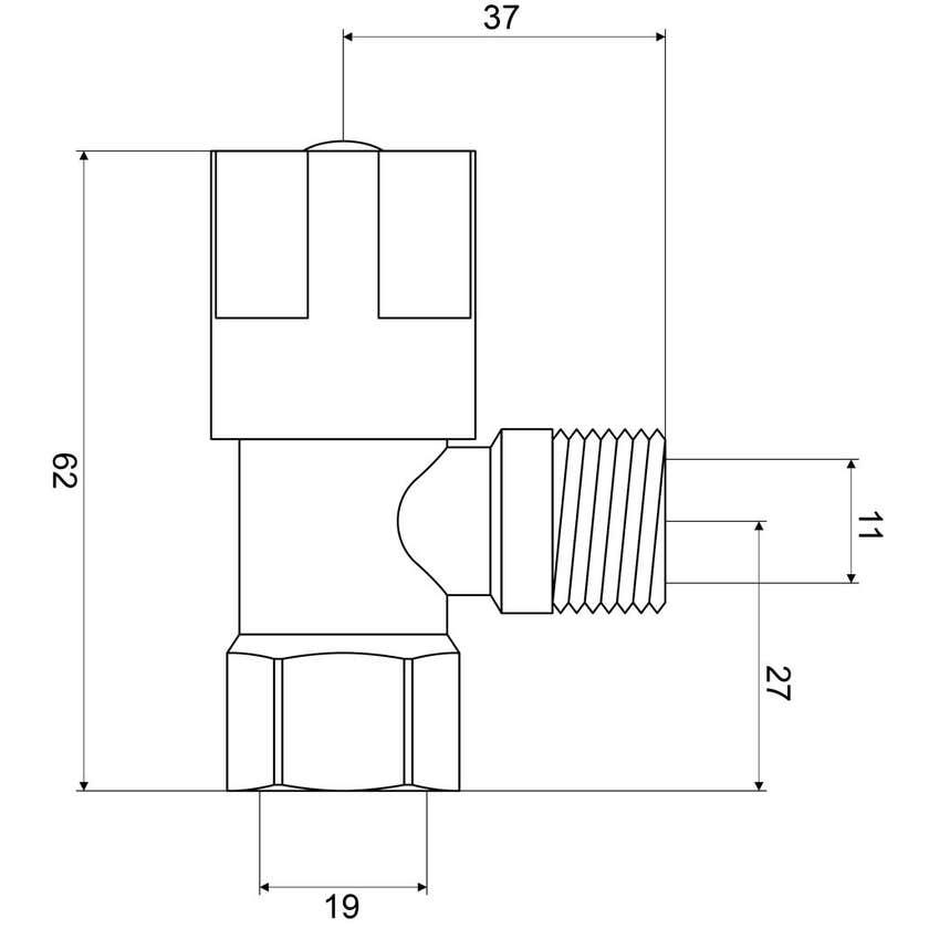 Mildon Cistern Cock Mini 1/4 Turn Chrome