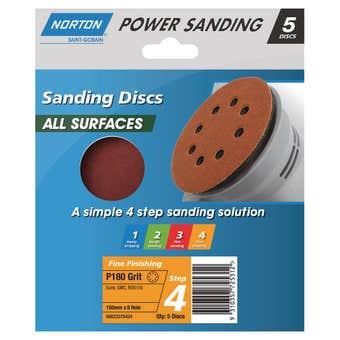 Norton Sanding Disc 150mm x 8h P180 Grit - 5 Pk