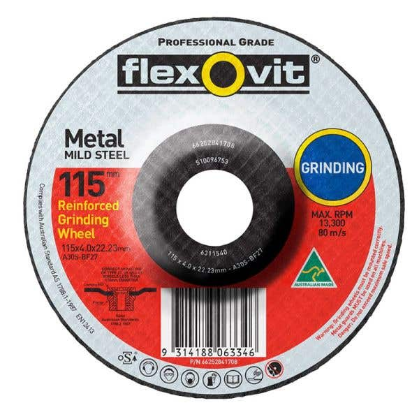 Flexovit Metal Grinding Wheel 115 x 4.0 x 22mm