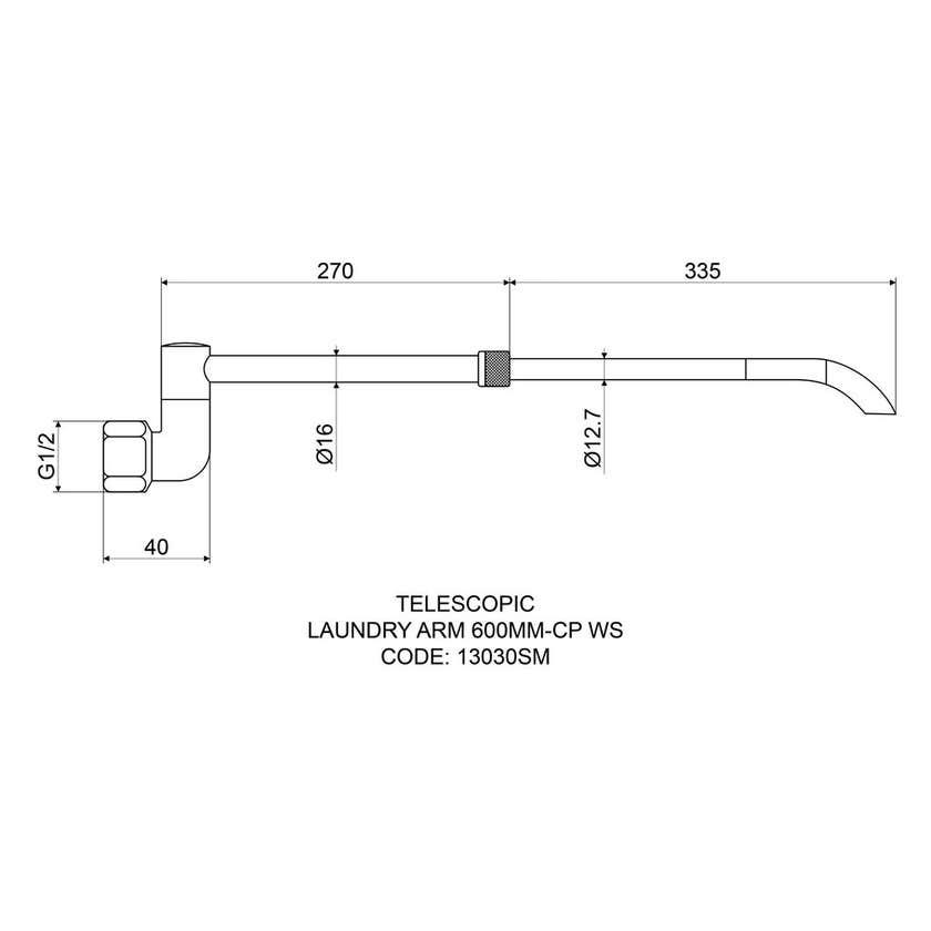 Mildon Laundry Arm Telescopic 600mm
