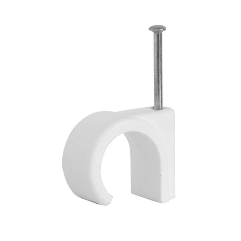 HPM 8-10mm Hook Cable Clips White - 100 Pack