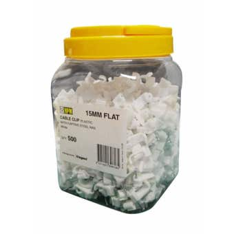 HPM 15mm Flat Cable Clips - 500 Pack