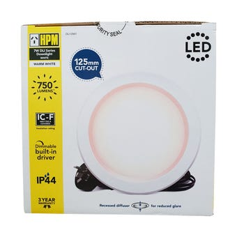HPM DLI LED Downlight Warm White White Finish 7W 125mm