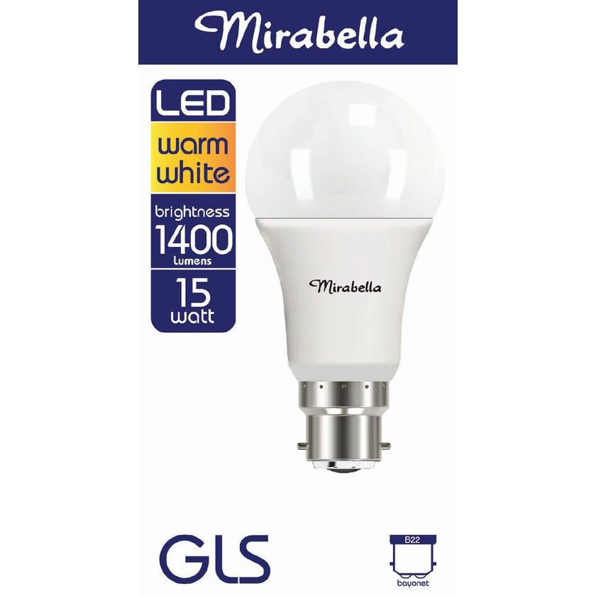 Mirabella LED GLS Globe 15W BC Warm White
