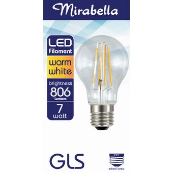 Mirabella LED Filament GLS Globe ES 7W Warm White
