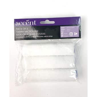 Accent Microfibre Roller Cover 100mm 4mm Nap 3 Pack
