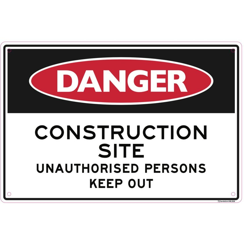 Sandleford Danger Construction Site Keep Out Sign
