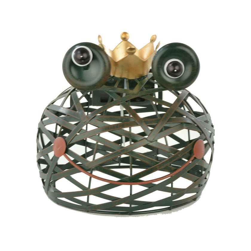 Mirabella Solar Metal Frog Ornament with LED