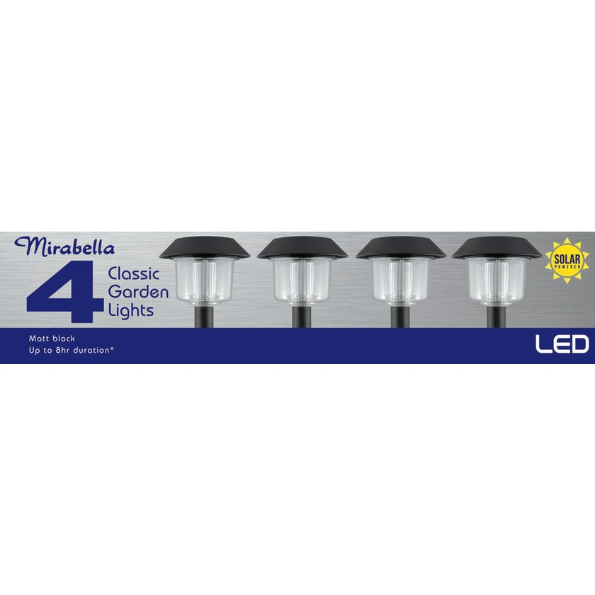 Mirabella LED Solar Garden Lights Black - 4 Pack