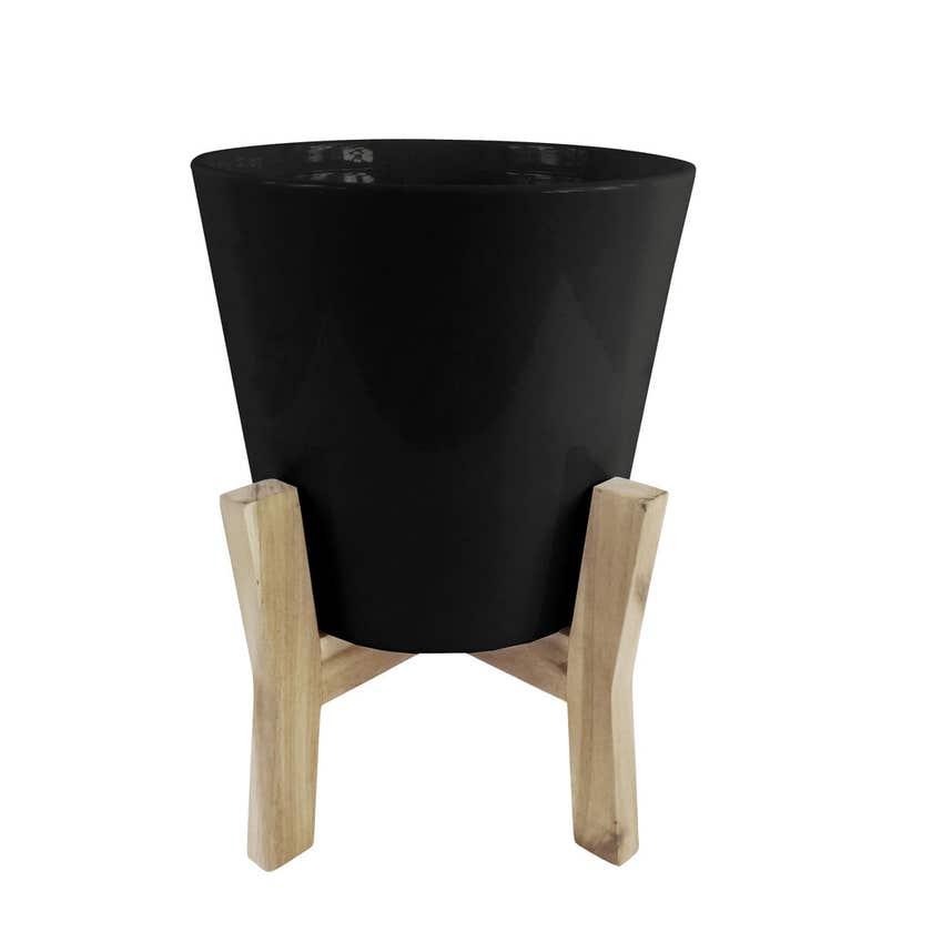 Jayda Planter Pot with Stand Black 31cm