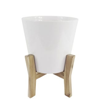 Jayda Planter Pot with Stand White 31cm