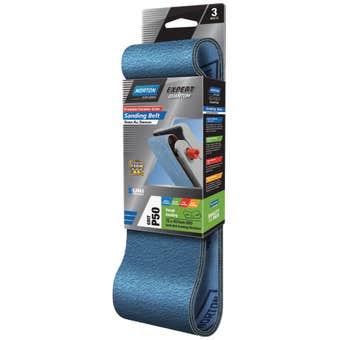 Norton Sanding Belt 75 x 457mm P50 Grit - 3 Pk