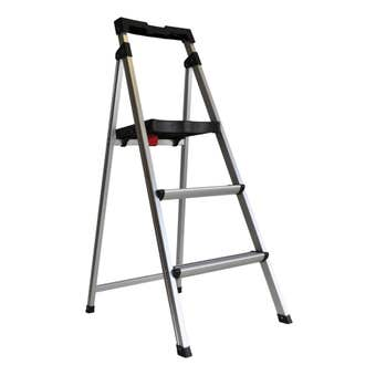 Werner 3 Step Aluminium Ladder With Tray 100kg Domestic