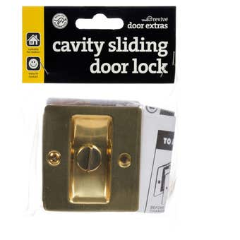 Trio Sliding Door Cavity Lock 70mm x 63mm x 36mm Electro Brass