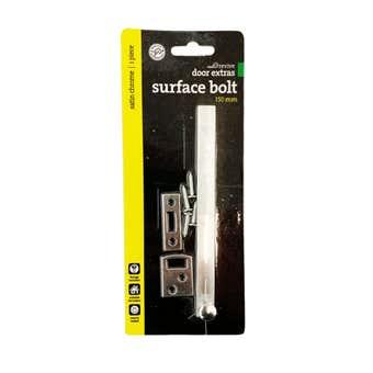 Trio Surface Bolt Satin Chrome 150mm