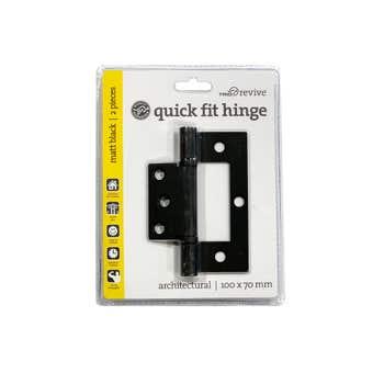 Trio Quick Fix Hinge Black 100 x 70 x 2.5mm - 2 Pack