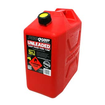 Pro Quip Plastic Unleaded Fuel Can Red 15L