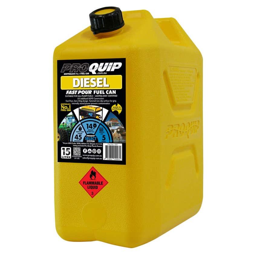 Pro Quip Plastic Diesel Fuel Can Yellow 15L