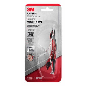 3M Flat Temple Safety Glasses Clear Lens