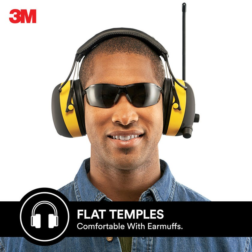 3M Flat Temple Safety Glasses Grey Lens
