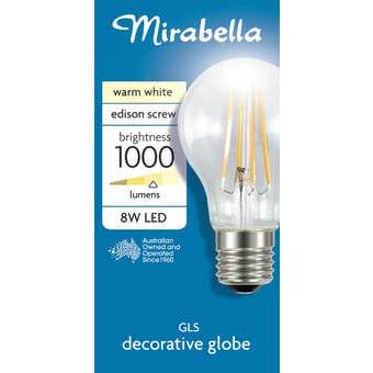 Mirabella LED Globe ES A60 2700K 8W