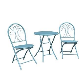 Chloe 2 Seater Decorative Café Setting Blue