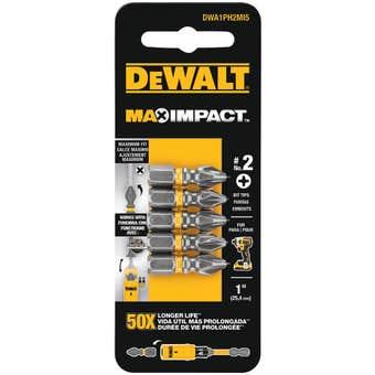 DeWALT Max Impact Drill Bit PH2 25mm - 5 Pack