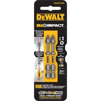DeWALT Max Power Impact Drill Bit PH1 63.5mm - 2 Pack