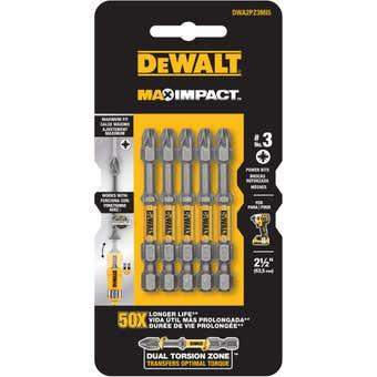 DeWALT Max Power Impact Drill Bit PZ3 63.5mm - 5 Pack