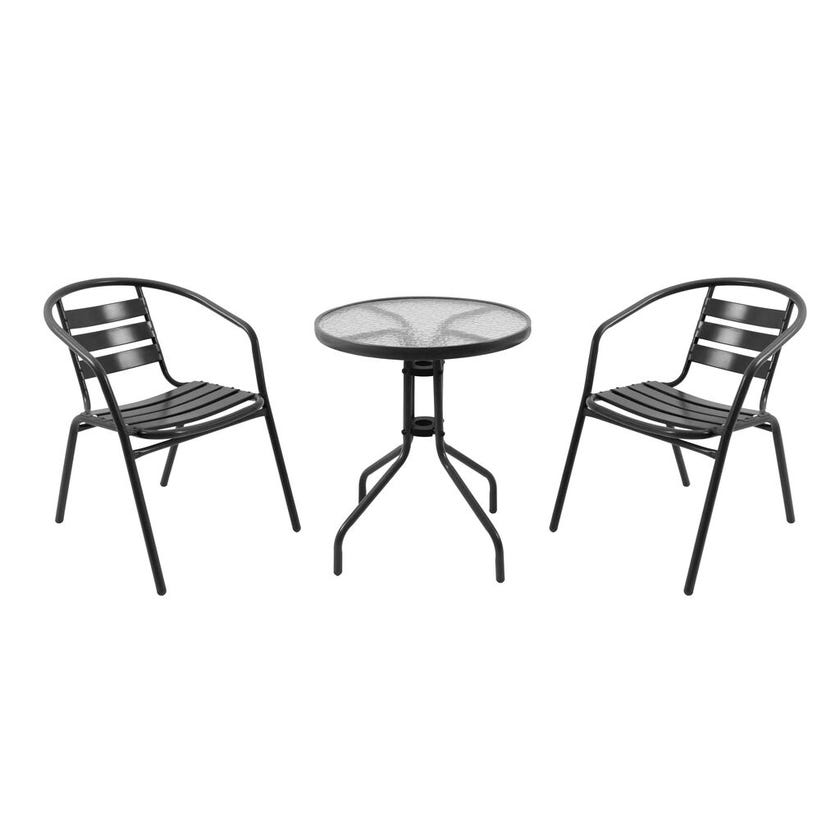 Cancun 2 Seater Steel Cafe Setting Black