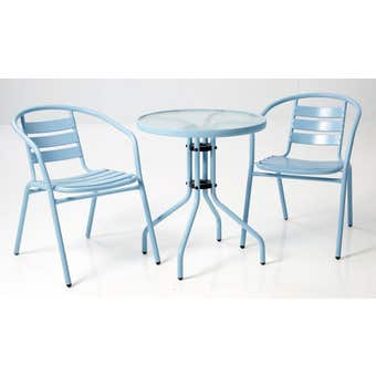 Cancun 2 Seater Steel Cafe Setting Blue