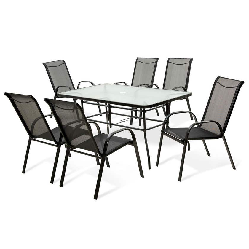 Aiden 6 Seater Steel Dining Setting