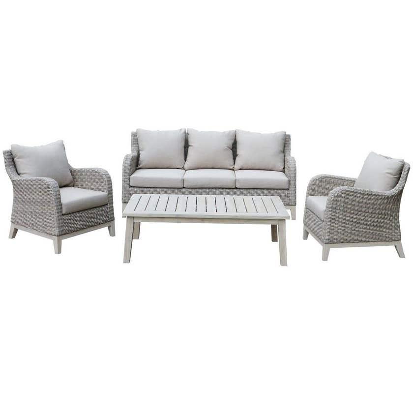 Aruba Wicker & Timber Lounge Setting - 4 Piece