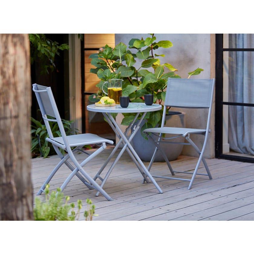 Belize 2 Seater Café Setting Charcoal