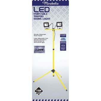 Mirabella LED Tripod Work Light 2 x 20W