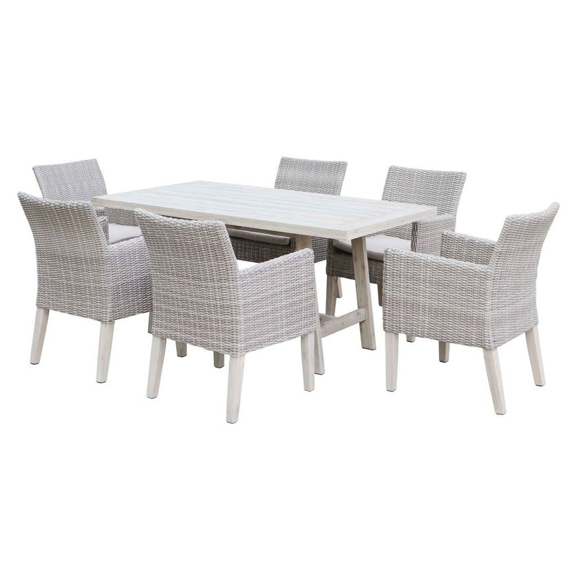 Aruba 6 Seater Dining Set White Wash with Timber Wicker Cushions