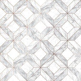 Contour Wallpaper Marble Marquetry Grey 10m x 52cm