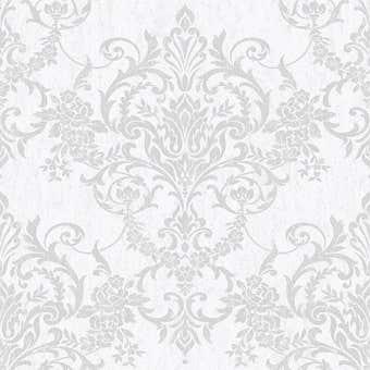 Superfresco Easy Wallpaper Victorian Damask Grey & Silver 10m x 520mm