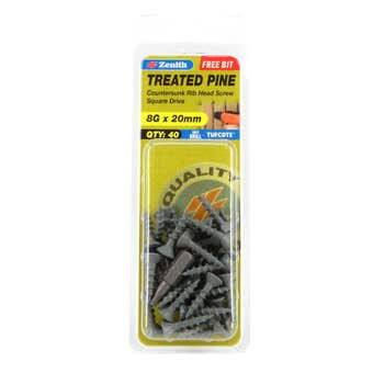 Zenith Screw Treated Pine Tufcote Square Drive 8G x 20mm - 40 Pack