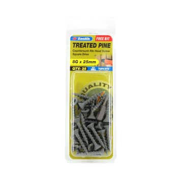 Zenith Screw Treated Pine Tufcote Square Drive 8G x 25mm - 35 Pack